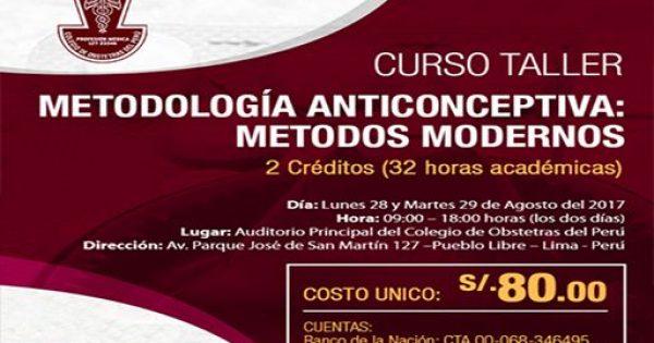 Curso/Taller: METODOLOGÍA ANTICONCEPTIVA – MÉTODOS MODERNOS. 28 y 29 de agosto