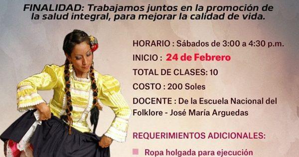 """clases de """"TONDERO NORTEÑO DEL PERÚ"""" comienzan este 24 de febrero, de 3 a 4.30 p.m."""