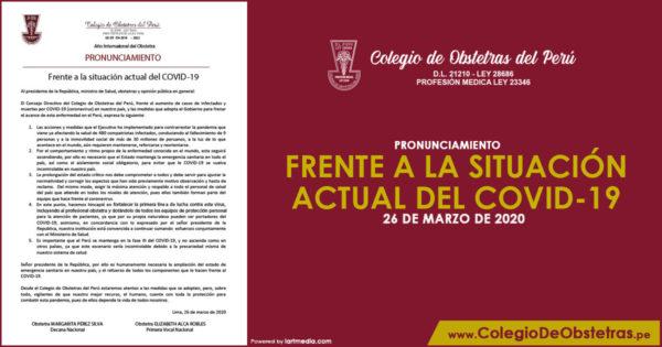 PRONUNCIAMIENTO – FRENTE A LA SITUACIÓN ACTUAL DEL COVID-19