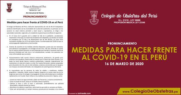MEDIDAS PARA HACER FRENTE AL COVID-19 EN EL PERÚ
