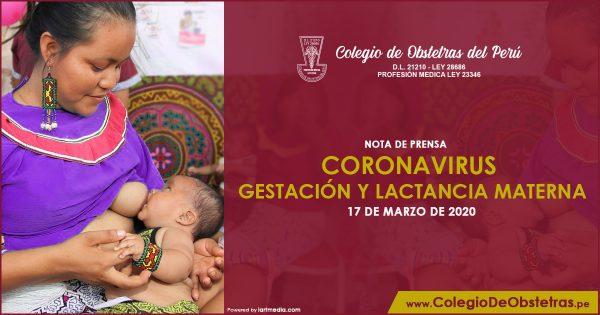 NOTA DE PRENSA – CORONAVIRUS GESTACIÓN Y LACTANCIA MATERNA