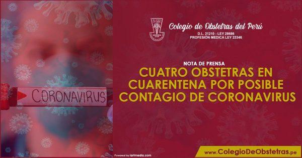 NOTA DE PRENSA – CUATRO OBSTETRAS EN CUARENTENA POR POSIBLE CONTAGIO DE CORONAVIRUS