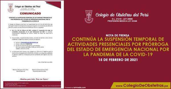 CONTINÚA LA SUSPENSIÓN TEMPORAL DE ACTIVIDADES PRESENCIALES POR PRÓRROGA DEL ESTADO DE EMERGENCIA NACIONAL POR LA PANDEMIA DE LA COVID-19