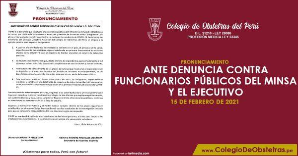 ANTE DENUNCIA CONTRA FUNCIONARIOS PÚBLICOS DEL MINSA Y EL EJECUTIVO
