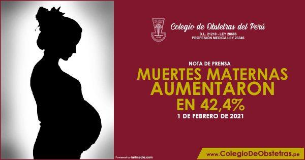 MUERTES MATERNAS AUMENTARON EN 42,4%