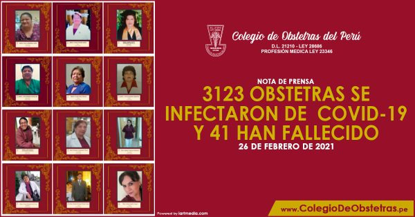 3123 OBSTETRAS SE INFECTARON DE COVID-19 Y 41 HAN FALLECIDO