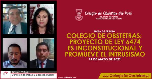 COLEGIO DE OBSTETRAS: PROYECTO DE LEY 6474 ES INCONSTITUCIONAL Y PROMUEVE EL INTRUSISMO