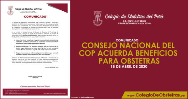 COMUNICADO – CONSEJO NACIONAL DEL COP ACUERDA BENEFICIOS PARA OBSTETRAS