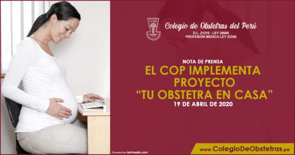 """NOTA DE PRENSA – EL COP IMPLEMENTA PROYECTO """"TU OBSTETRA EN CASA"""""""