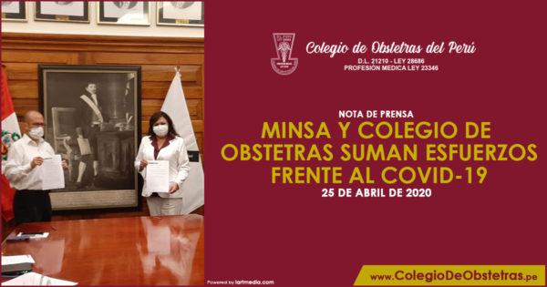 NOTA DE PRENSA – MINSA Y COLEGIO DE OBSTETRAS SUMAN ESFUERZOS FRENTE AL COVID-19