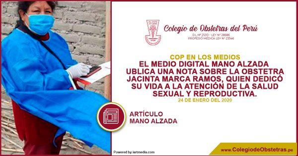 El medio digital Mano Alzada publica una nota sobre la obstetra Jacinta Marca Ramos