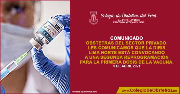 Diris Lima Norte está convocando a una segunda reprogramación para la primera dosis