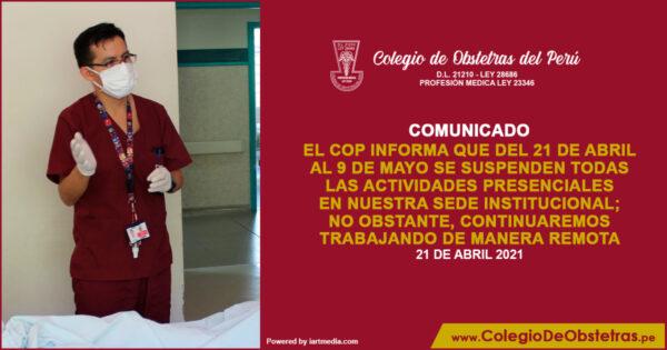 El COP informa que del 21 de abril al 9 de mayo se suspenden todas las actividades presenciales
