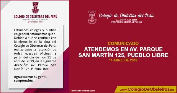 ATENDEMOS EN AV. PARQUE SAN MARTÍN 125, PUEBLO LIBRE