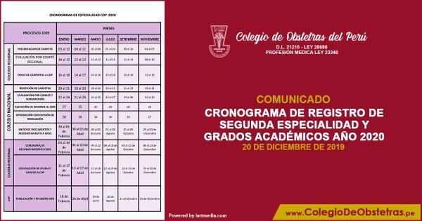 CRONOGRAMA DE REGISTRO DE SEGUNDA ESPECIALIDAD Y GRADOS ACADÉMICOS AÑO 2020