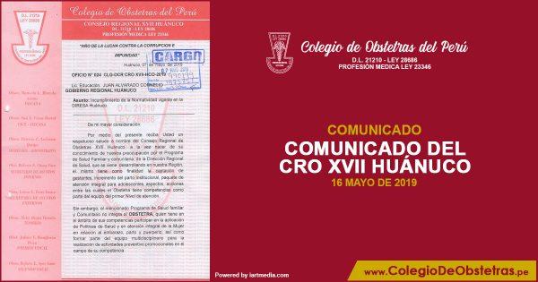 COMUNICADO DEL CRO XVII HUÁNUCO