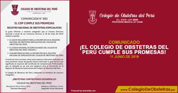 ¡EL COLEGIO DE OBSTETRAS DEL PERÚ CUMPLE SUS PROMESAS!