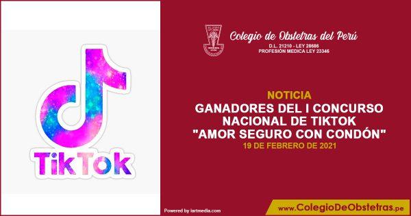LISTA DE GANADORES DEL I CONCURSO NACIONAL DE TIKTOK «AMOR SEGURO CON CONDÓN»