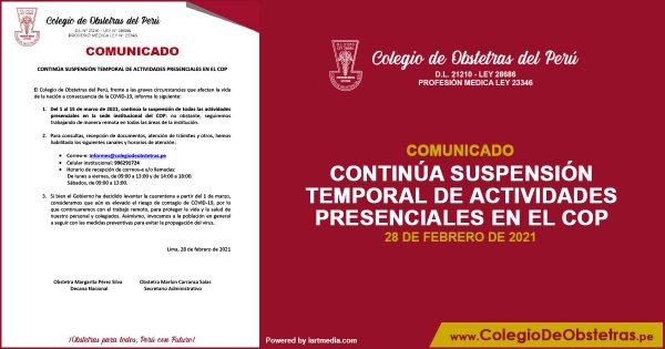 CONTINÚA SUSPENSIÓN TEMPORAL DE ACTIVIDADES PRESENCIALES EN EL COP