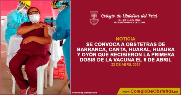 Aplicación de la segunda dosis de la vacuna en Lima Provincias Norte