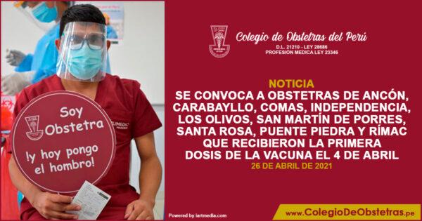 Aplicación de la segunda dosis de la vacunación en Lima Norte