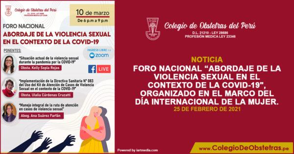 Foro «Abordaje de la violencia sexual en el contexto de la COVID-19»