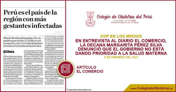 En entrevista al diario El Comercio, la decana Margarita Pérez Silva denunció que el Gobierno no está dando prioridad a la salud materna como lo ha anunciado