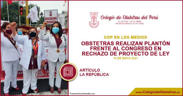 Obstetras realizan plantón frente al Congreso en rechazo de proyecto de ley