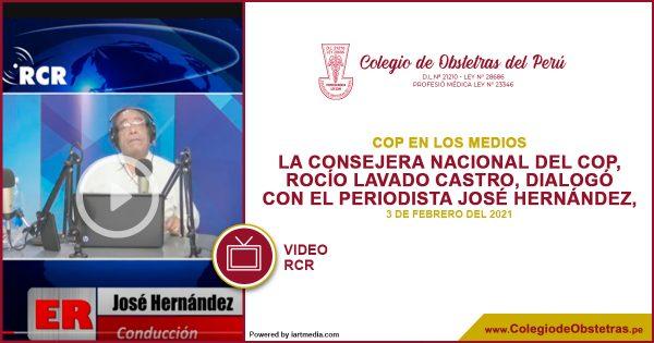 La consejera nacional del COP, Rocío Lavado Castro, dialogó con el periodista José Hernández