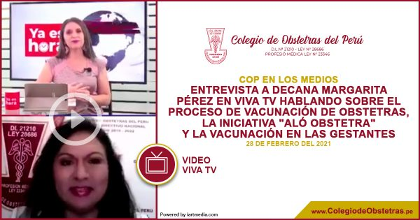 La decana nacional del COP estuvo hoy en Viva TV hablando sobre el proceso de vacunación de obstetras