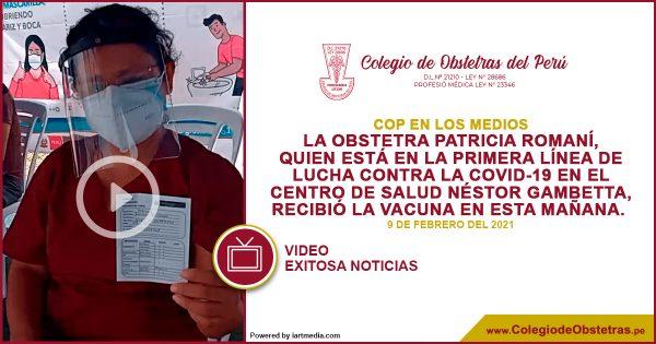 La obstetra Patricia Romaní del centro de salud Néstor Gambetta recibió la vacuna