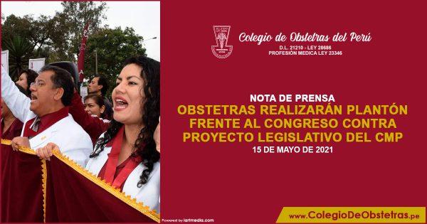 Obstetras realizarán plantón frente al Congreso contra proyecto legislativo del CMP