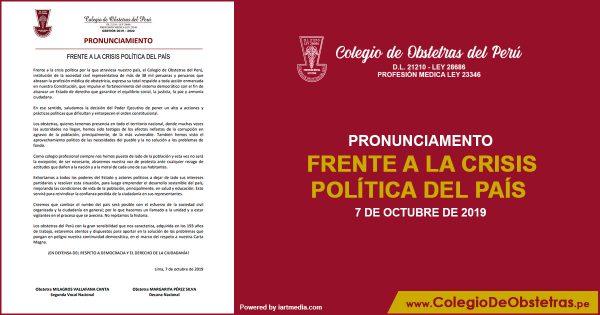 FRENTE A LA CRISIS POLÍTICA DEL PAÍS