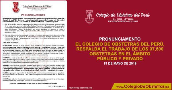 EL COLEGIO DE OBSTETRAS DEL PERÚ, RESPALDA EL TRABAJO DE LOS 37,500 OBSTETRAS EN EL ÁMBITO PÚBLICO Y PRIVADO