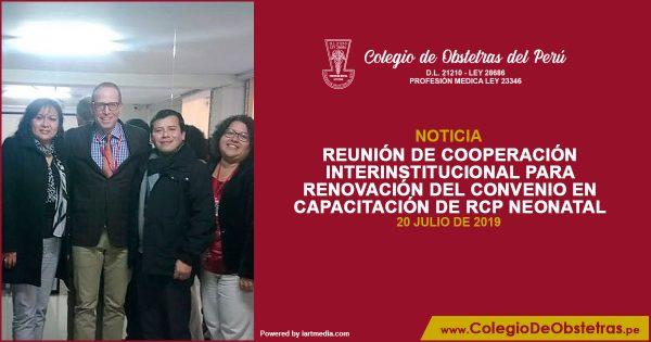 REUNIÓN DE COOPERACIÓN INTERINSTITUCIONAL PARA RENOVACIÓN DEL CONVENIO EN CAPACITACIÓN DE RCP NEONATAL