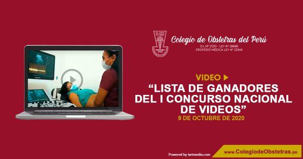 VIDEO: LISTA DE GANADORES DEL I CONCURSO NACIONAL DE VIDEOS