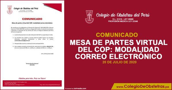 COMUNICADO – MESA DE PARTES VIRTUAL DEL COP: MODALIDAD CORREO ELECTRÓNICO