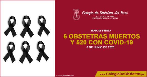 NOTA DE PRENSA – 6 OBSTETRAS MUERTOS y 520 CON COVID-19