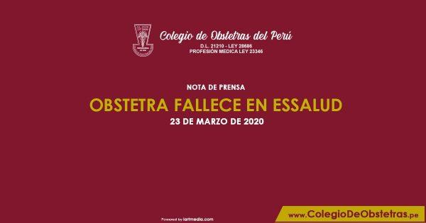 NOTA DE PRENSA – OBSTETRA FALLECE EN ESSALUD
