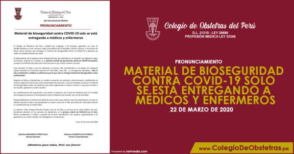 MATERIAL DE BIOSEGURIDAD CONTRA COVID-19 SOLO SE ESTÁ ENTREGANDO A MÉDICOS Y ENFERMEROS