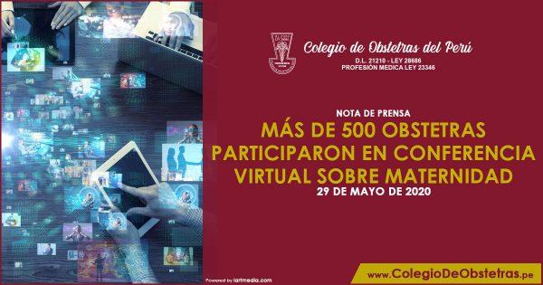 NOTA DE PRENSA – MÁS DE 500 OBSTETRAS PARTICIPARON EN CONFERENCIA VIRTUAL SOBRE MATERNIDAD