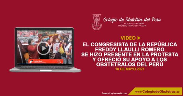 El congresista de la República Freddy Llaulli Romero se hizo presente en la protesta