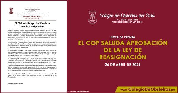 El COP saluda aprobación de la Ley de Reasignación
