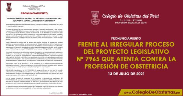 FRENTE AL IRREGULAR PROCESO DEL PROYECTO LEGISLATIVO Nº 7965 QUE ATENTA CONTRA LA PROFESIÓN DE OBSTETRICIA