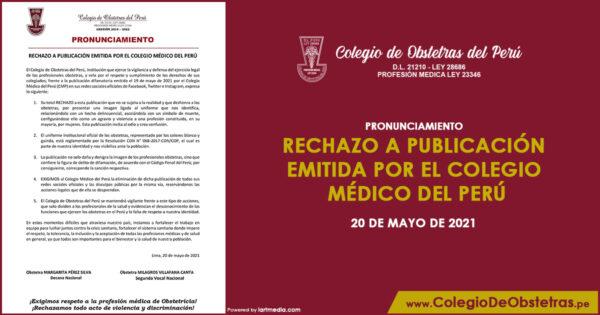 Rechazo A Publicación Emitida Por El Colegio Médico Del Perú