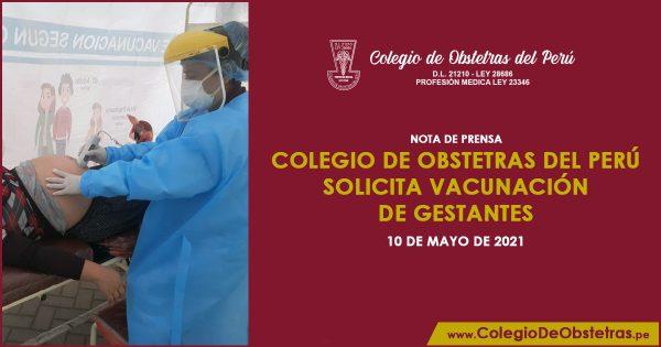 Colegio de Obstetras del Perú solicita vacunación de gestantes