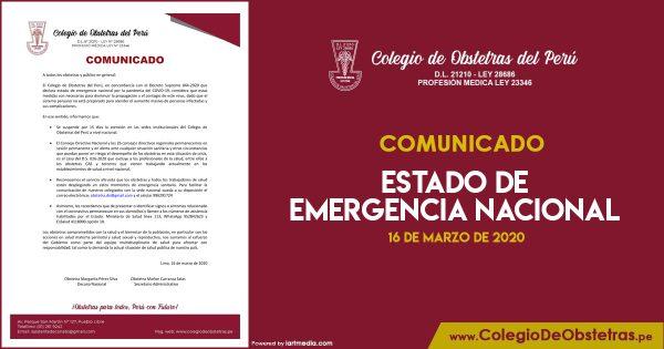 COMUNICADO – ESTADO DE EMERGENCIA NACIONAL