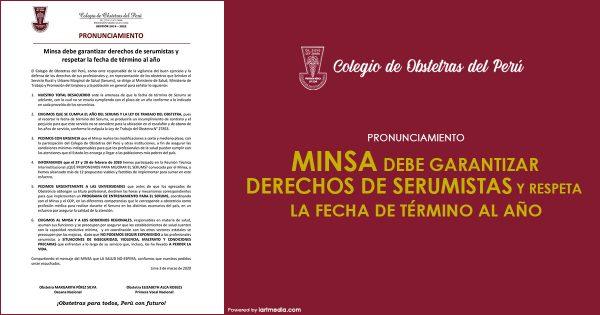 MINSA DEBE GARANTIZAR DERECHOS DE SERUMISTAS Y RESPETAR LA FECHA DE TÉRMINO AL AÑO