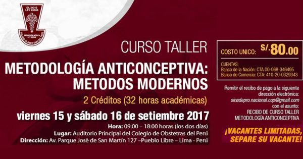 Curso – Taller: Metodología Anticonceptiva, Métodos Modernos. 15 y 16 de setiembre de 2017