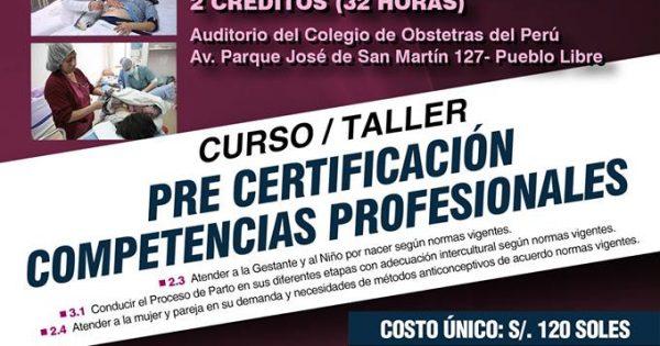 CURSO / TALLER PRE CERTIFICACIÓN DE COMPETENCIAS PROFESIONALES: Sábado 21 y domingo 22 de abril